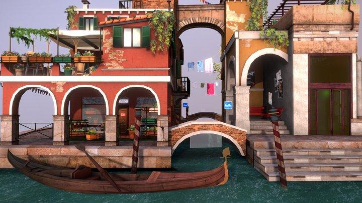 Venice City Scene 3D Model