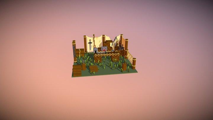 Voxel medieval scene 01 3D Model