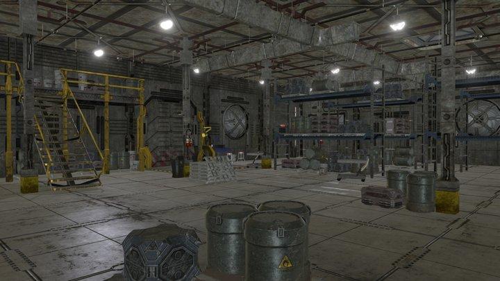 Sci Fi Warehouse Cut away 3D Model