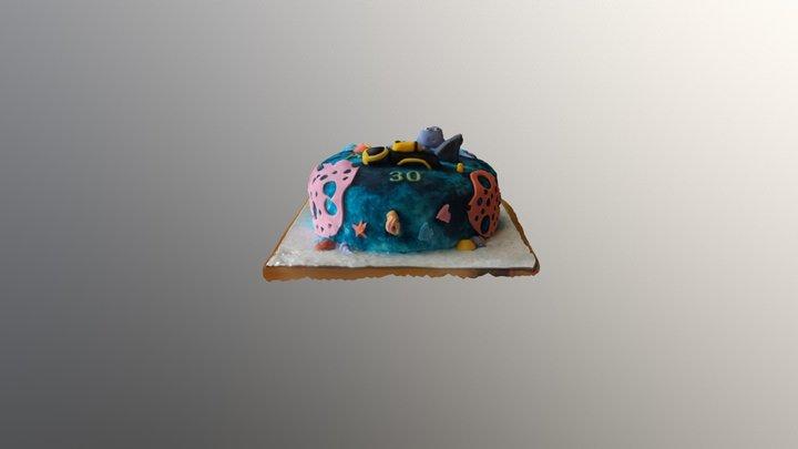 Ocean Birthday Cake 3D Model