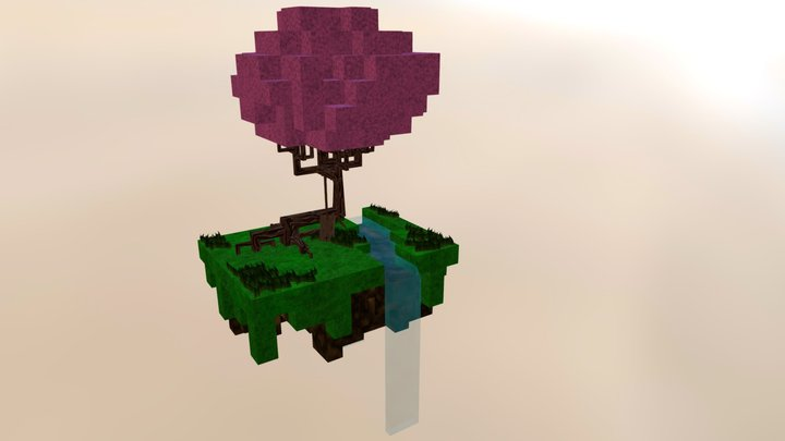 Floating Island of Cubes 3D Model
