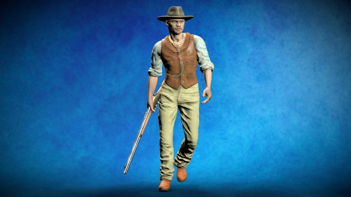 Cowboy with Winchester Carbine - 3d-printable 3D Model
