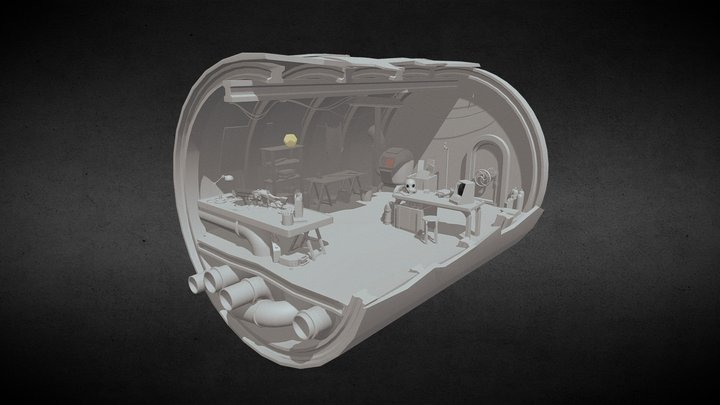 Post-apocalyptic Submarine Wreck Shelter 3D Model