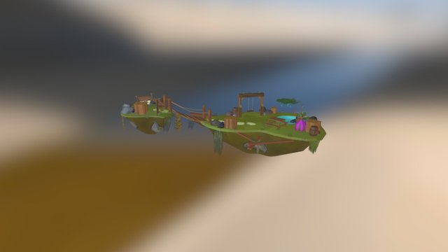 Handpainted Bastion Island - Exam Game Art 3D Model