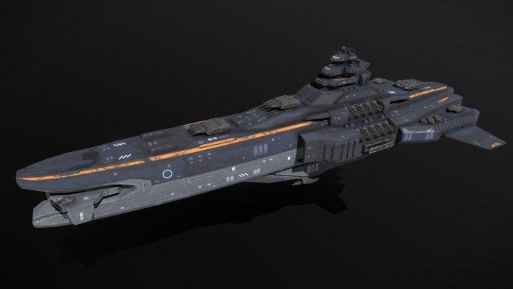 Scifi Heavy Cruiser Maelstrom 3D Model