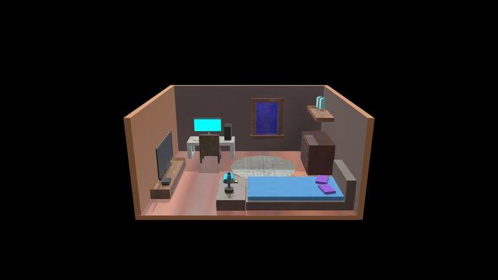 Diorama Bedroom Low Poly 3D Model