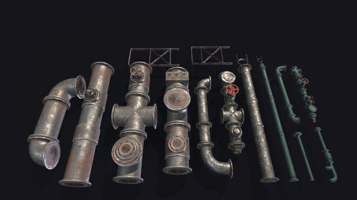 Industrial Set - Modular Pipes 3D Model