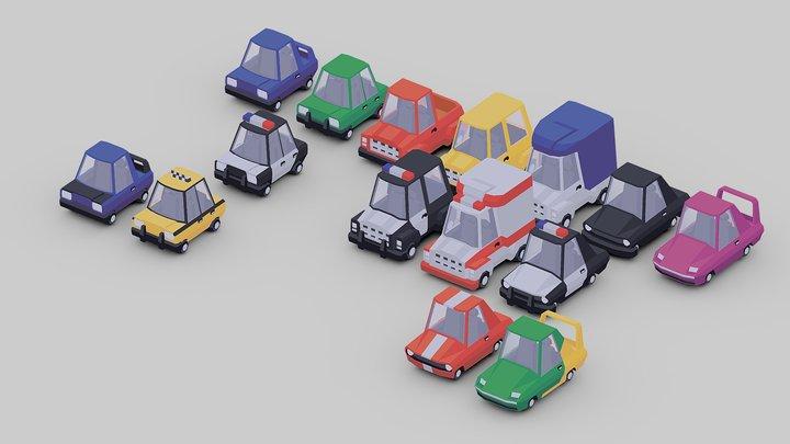 Low Poly Car Set 3D Model