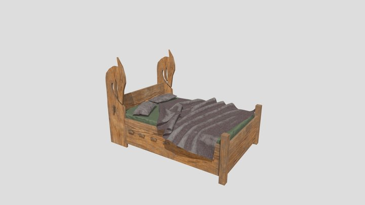 Viking Bed 3D Model