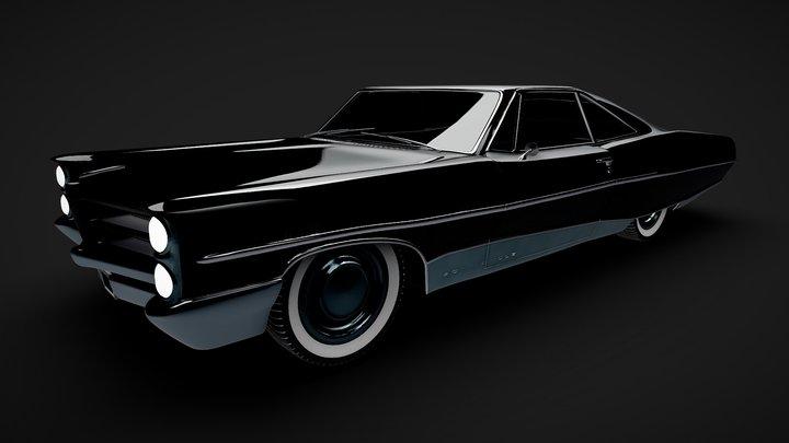 Pontiac Bonneville 1966 Black 3D Model