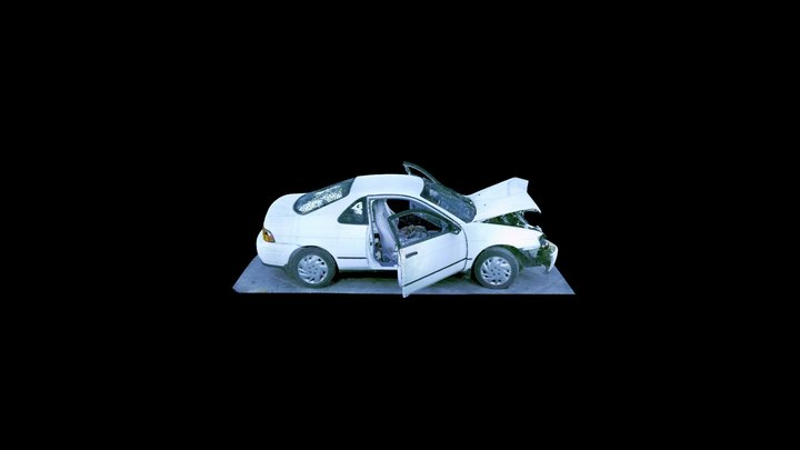 Crashed Toyota with doors open 3D Model