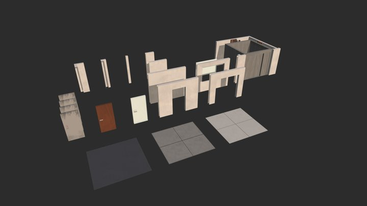 Modular office building assets (Post Apoc) 3D Model