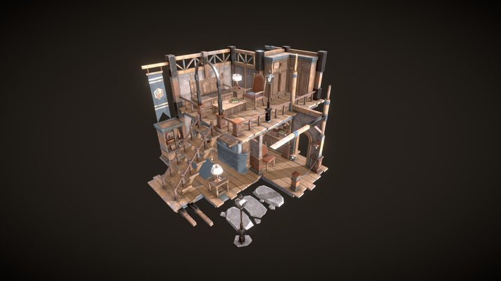 Abstract Medieval Isometric Room 3D Model