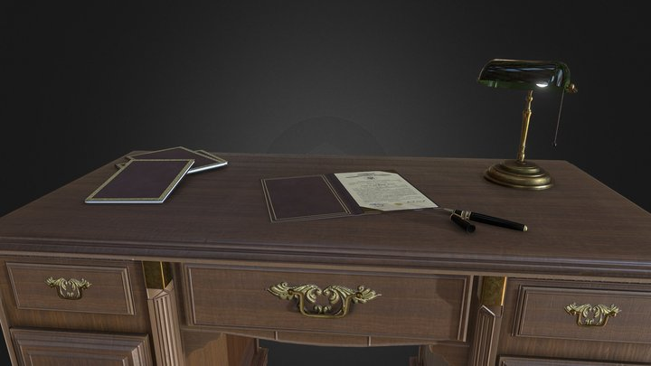 Old desk Scene 3D Model