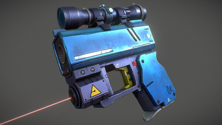 Stylized Defense Gun 3D Model