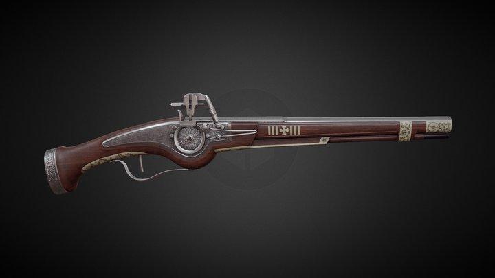 17th century Wheellock Pistol [Animated] 3D Model