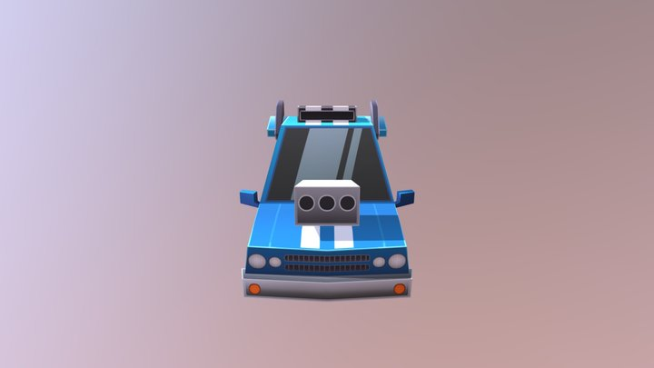 Car Muscle blue 3D Model