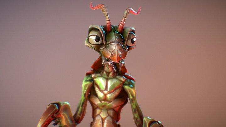 Insect Character: Cartoon Mantis 3D Model