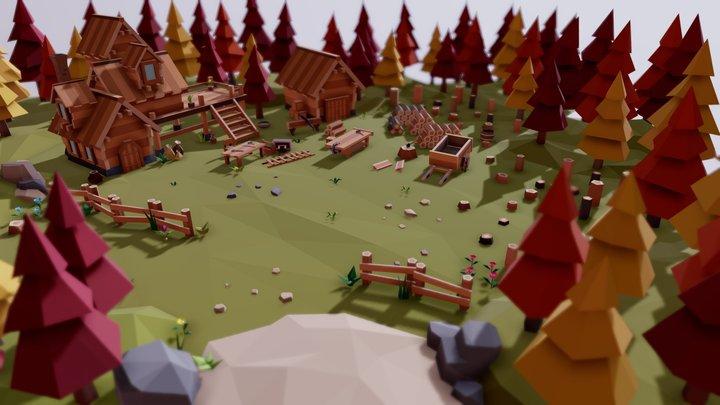 "Fantasy Village ""Lumbermill Autumn"" 3D Model"