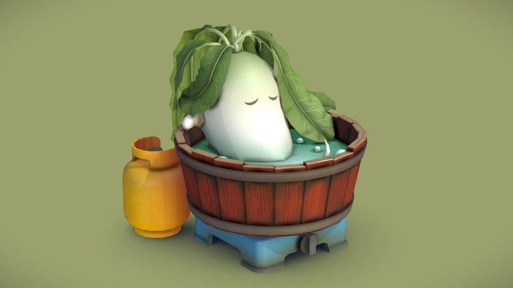 Radish in a Bathtub 3D Model