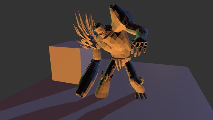 Falling On Rock Anim- Titan 3D Model