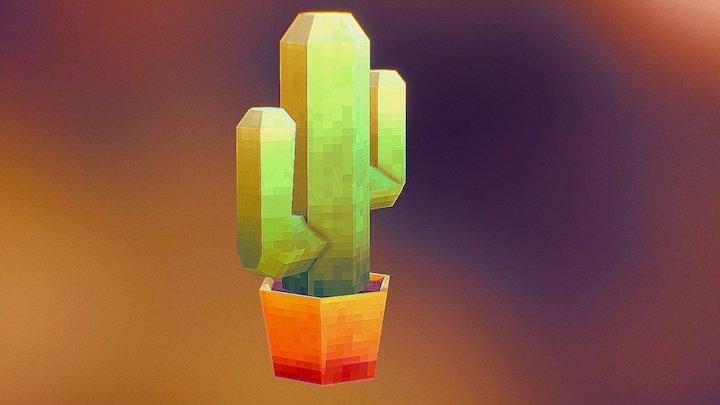 Low Poly Pixel Cactus 3D Model