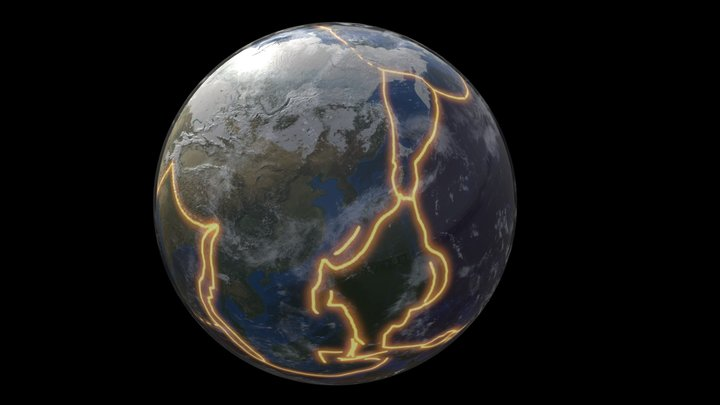 Tectonic Plates Mapped Onto The Earth's Surface 3D Model