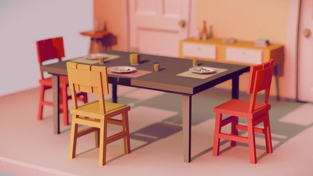 DIORAMA BAKED 3D Model