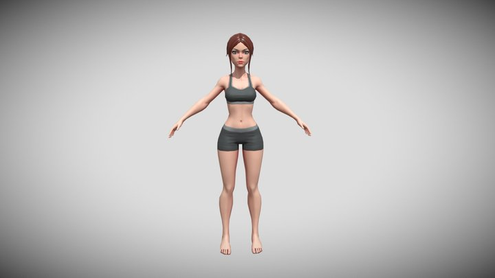 Stylized Female model - Base mesh - Game-ready 3D Model
