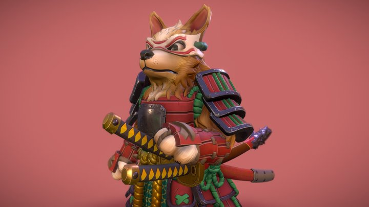 Samurai Corgi 3D Model