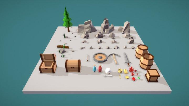 Stones And Buried Treasure 3D Model