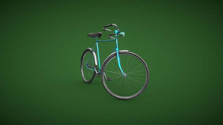 An Old Sky Blue City Bicycle 3D Model