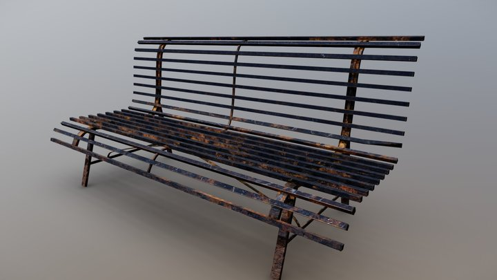 3D Metal Bench (rusty and scratched version) 3D Model