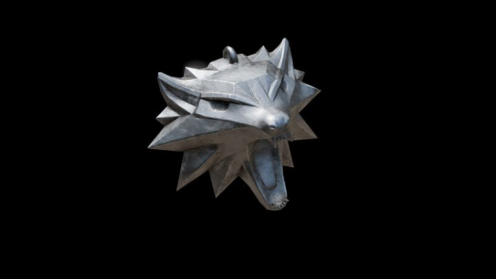 witcher wolf necklace 3D Model