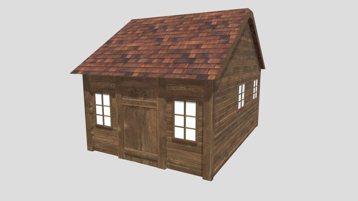 Low Poly Wood Cabin 3D Model
