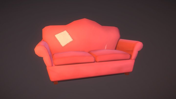 Little red sofa 3D Model