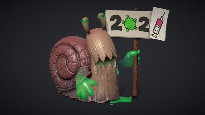 Sick snail wishes a Happy New Year. 3D Model