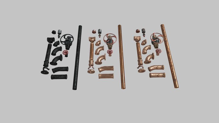Steampunk pipes and valves 3D Model