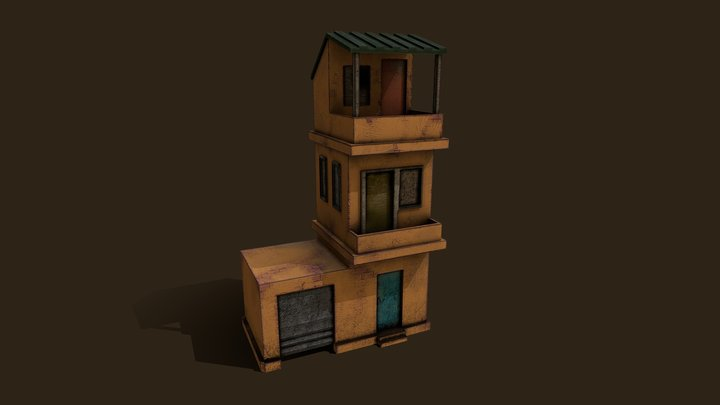 Low Poly Abandoned Building 3D Model