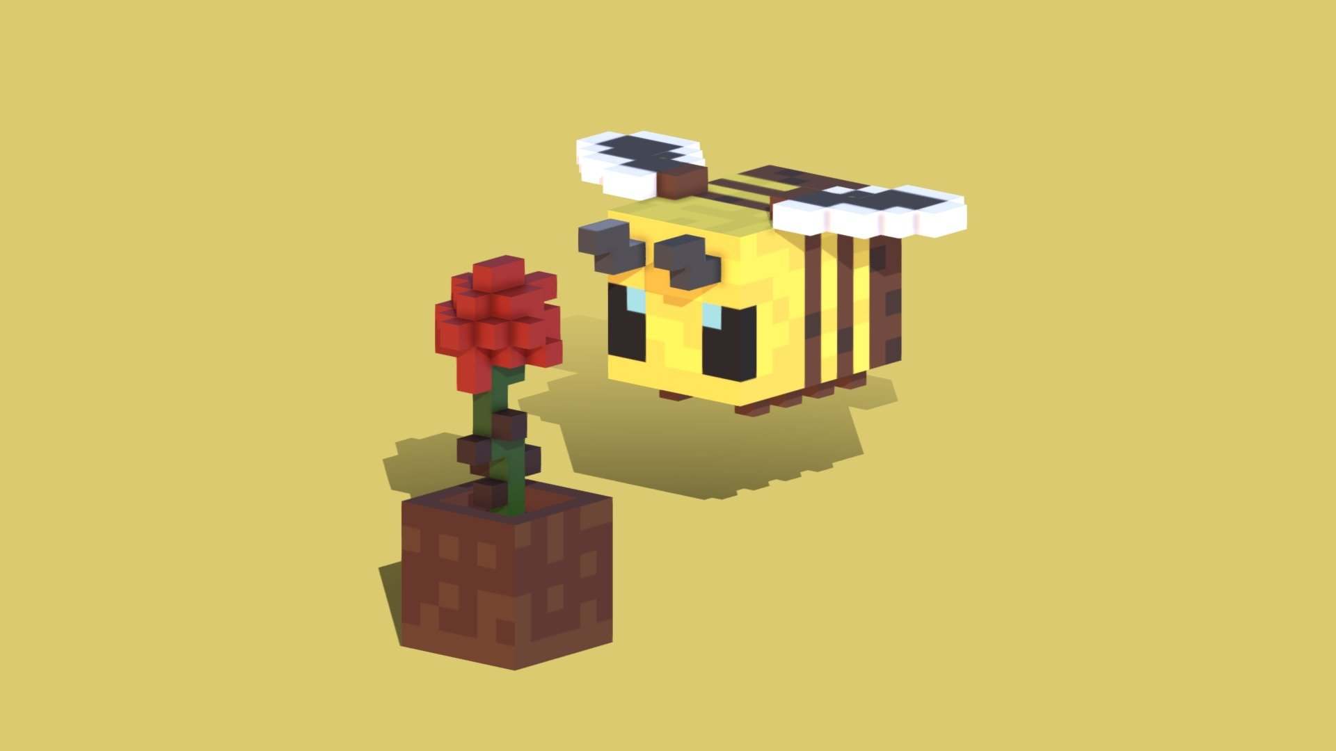 MINECRAFT BEE WITH 3D FLOWER Download Free 3D model by Jackmcm