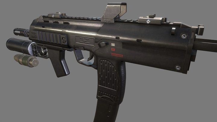 Heckler and Koch MP7A2 with GP-25 Launcher 3D Model