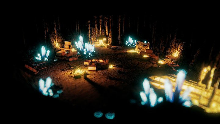 Cave with cristall 3D Model