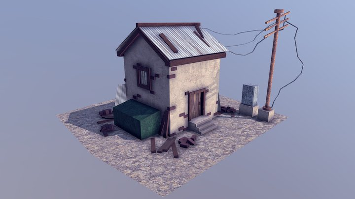 Abandoned House Low Poly 3D Model