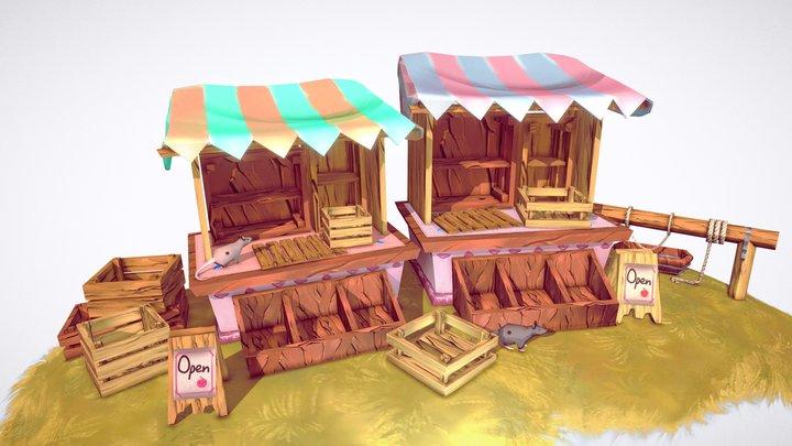 Medieval Village Market Props 3D Model