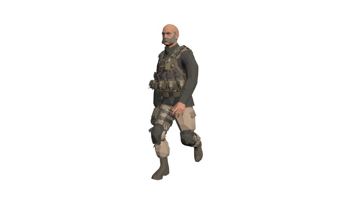 Old Man Soldier with sample walking anim 3D Model