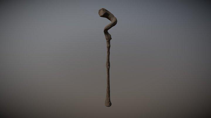 Gnarled Wooden Staff 3D Model