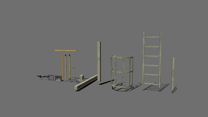Ladder, Railing and Flood Light Kit 3D Model