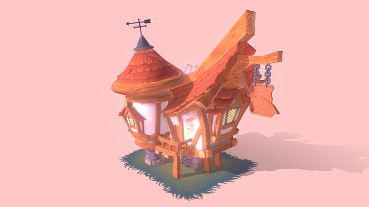 Medieval Scribe House 3D Model