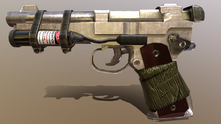 Wasteland Low-Poly Gun 3D Model