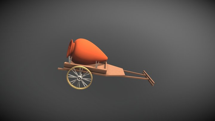 large pitche for wine on bullock cart 3D Model